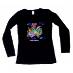 Women's L/S Top Black Flower