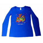 Women's Long Sleeved (L/S) round neck Top Blue Building